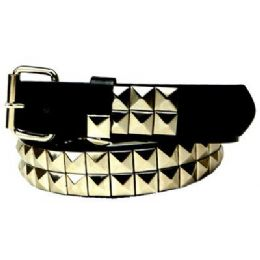 48 Units of Silver 2-Row Pyramid Studded kids Belt Unisex boy girl - Unisex Fashion Belts