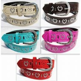 24 Units of Fashion Heart Rhinestone Buckle & Belt - Unisex Fashion Belts