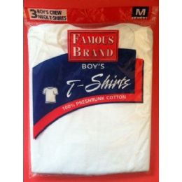 48 Units of FAMOUS BRAND BOY'S 3- PACK WHITE CREW NECK T-SHIRTS - Boys T Shirts