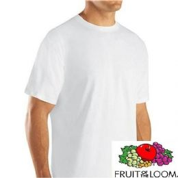 24 Units of FRUIT OF THE LOOM MEN'S 3PK WHITE CREW T-SHIRT Small Size Only - Mens T-Shirts