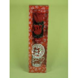 72 Units of VALENTINES DAY PORCELAIN DECORATION TWO RED ROSE MUG SET - Valentines