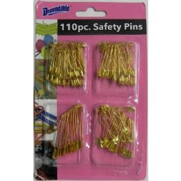 48 Units of 110 Piece Gold Plated Safety Pins - Sewing Supplies