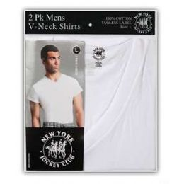 36 Units of Men's 2 Pack Cotton V-Neck T-Shirt - Mens T-Shirts