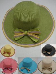 24 Units of Ladies WidE-Brimmed Hat [multicolor Edging & Bow] - Sun Hats