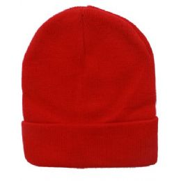 48 Units of Unisex Solid Red Winter Beanie Hat 12 Inch - Winter Beanie Hats