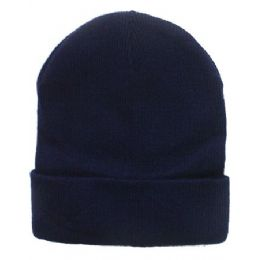 36 Units of Unisex Plain Navy Blue Beanie Hat - Winter Beanie Hats