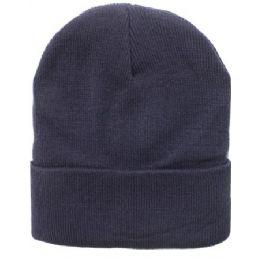 36 Units of Solid Dark Grey Beanie Hat 12 Inch - Winter Beanie Hats