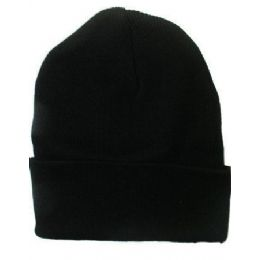 36 Units of Solid Black Winter Beanie Hat 12 Inch - Winter Beanie Hats