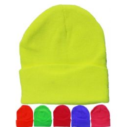 36 Units of Solid Color Mix Neon Beanie Hats 12 Inch - Winter Beanie Hats