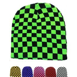 36 Units of Neon Checkered Beanie Hat - Winter Beanie Hats
