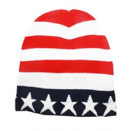36 Units of American Flag Beanie Hat - Winter Beanie Hats