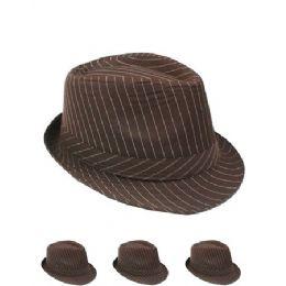 24 Units of Pinstripe Fabric Fedora Hat Solid Brown - Fedoras, Driver Caps & Visor