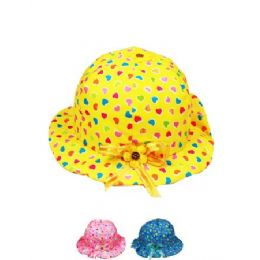 72 Units of Kid Summer Hat Mix Color With Hearts - Sun Hats