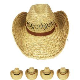 24 Units of Unisex Western Straw Cowboy Hat Assorted Band - Cowboy & Boonie Hat