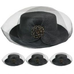 24 Units of Ladies Solid Color Summer Hat With Bow And Mesh - Sun Hats