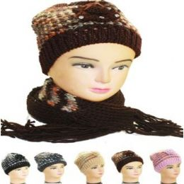 36 Units of WOMAN WINTER HAT 2PC - Winter Sets Scarves , Hats & Gloves