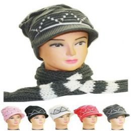 36 Units of WOMAN WINTER HAT 2 PC Set - Winter Sets Scarves , Hats & Gloves