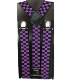 48 Units of Checkered Suspender In Purple And Black - Suspenders