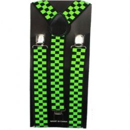48 Units of Checkered Black And Green Suspender - Suspenders