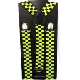 96 Units of Checkered Suspender In Black And Yellow - Suspenders