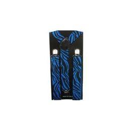 96 Units of Adult Blue Zebra Suspender - Suspenders