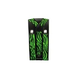 96 Units of Adult Green And Black Zebra Print Suspender - Suspenders