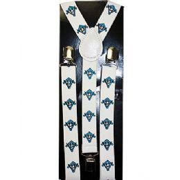 96 Units of White Mason Suspender - Suspenders