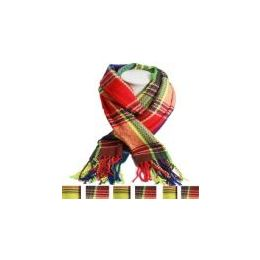 36 Units of Unisex Fashion Scarves In Colorful Plaid - Womens Fashion Scarves