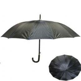 24 Units of Adults Solid Black Umbrella - Umbrellas & Rain Gear
