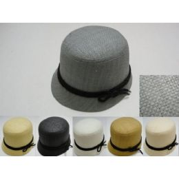 48 Units of Ladies Woven Bucket Hat With Black Hat Band - Sun Hats