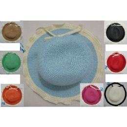 24 Units of Ladies Woven Hat [scalloped Edge With Thin Bow] - Sun Hats