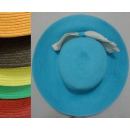 24 Units of Ladies Woven Hat With Large Bow - Sun Hats