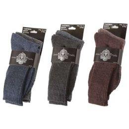 36 Units of Men's Heavy Thermal Socks - Mens Crew Socks