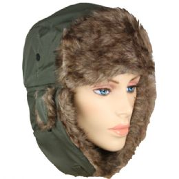 36 Units of PILOT HAT IN GREEN WITH FAUX FUR LINING AND STRAP - Trapper Hats