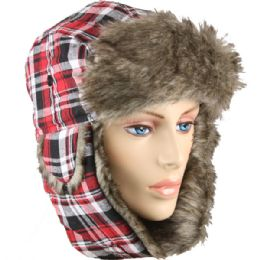 12 Units of RED PLAID WINTER PILOT HAT WITH FAUX FUR LINING AND STRAP - Trapper Hats