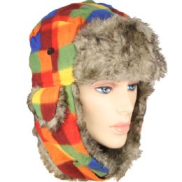 36 Units of RAINBOW COLORED WINTER PILOT HAT WITH FAUX FUR LINING AND STRAP - Trapper Hats