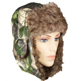 36 Units of CAMO COLORED WINTER PILOT HAT WITH FAUX FUR LINING AND STRAP - Trapper Hats