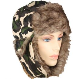 36 Units of ARMY PRINTED WINTER PILOT HAT WITH FAUX FUR LINING AND STRAP - Trapper Hats