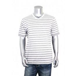 30 Units of Men's Stripe V-Neck Shirt 60% Cotton Size Chart A Only - Mens T-Shirts