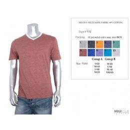 24 Units of Men's V-Neck Marl Fabric 60% Cotton Size Chart A Only - Mens T-Shirts