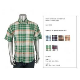 36 Units of Mens Fashion Plaid Button Down Shirt Y/d 60% Cotton 40% Poly Size Scale B Only - Men's Work Shirts