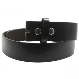 72 Units of Small Black Dress Plain Belt - Mens Belts