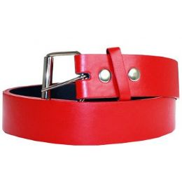 72 Units of Unisex PLB 012 Mixed Size Red Plain Belt - Unisex Fashion Belts