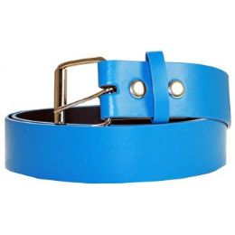 72 Units of Unisex PLB 014 Mixed Size Plain Belt In Blue - Unisex Fashion Belts