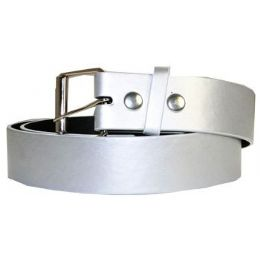 72 Units of Mixed Size Silver Plain Belt - Unisex Fashion Belts