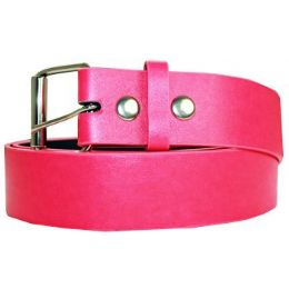 72 Units of Neon Pink Mixed Size Plain Belt - Unisex Fashion Belts