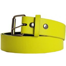 72 Units of Neon Mixed Size Plain Belt In Yellow - Unisex Fashion Belts