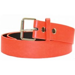 72 Units of Neon Orange Mixed Size Plain Belt - Unisex Fashion Belts