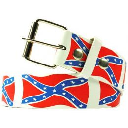 72 Units of Rebel Flag Printed Belt - Unisex Fashion Belts