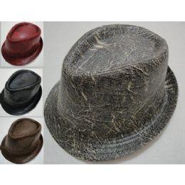 30 Units of Fedora Hat-Distressed Leather - Fedoras, Driver Caps & Visor